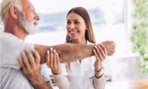 The senior patient gets an alternative holistic treatment.